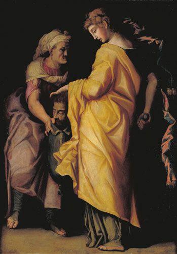 Giuditta e Oloferne, olio su tavola Pittore toscano (seconda metà del XVI secolo)