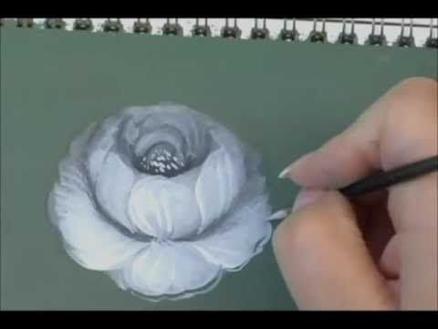 How to paint a rose in acrylics. Many people have a problem with correct petal placement. When watching this video I suggest you imagine the numbers on a clock face when the artist is placing petals...this will help you to pull the petals from the correct position. Also, a light wash of colour over the completed rose, would be acceptable.