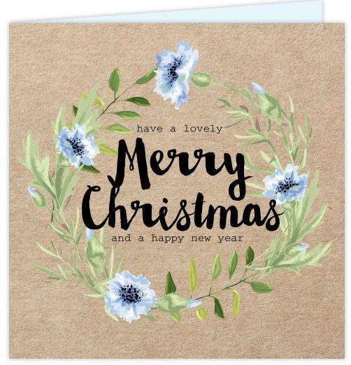 Originele zakelijke kerstkaart met kraft design. Met zwarte losse teksten in moderne lettertypes en illustraties van blauwe bloemen. Alles is te bewerken! Gratis verzending in Nederland en België.