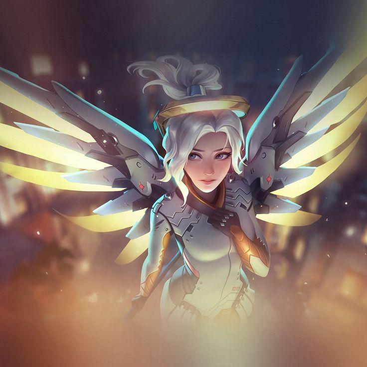 Mercy Overwatch Angel Healer Game Art Illustration #iPad #Pro #wallpaper