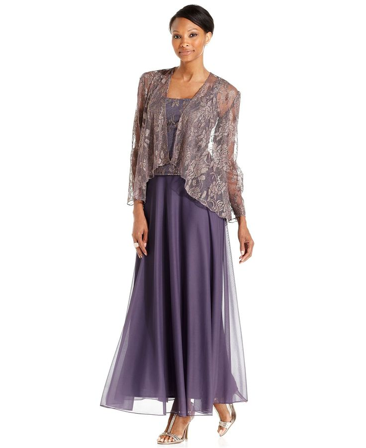 Patra Sleeveless Metallic Lace Gown And Jacket Dresses