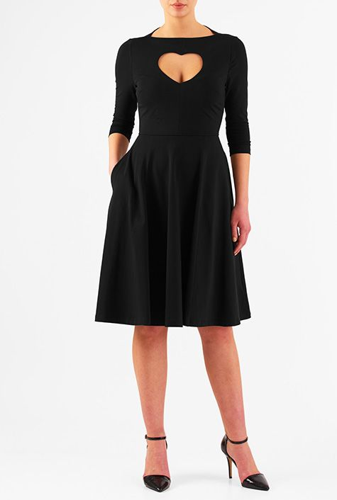 I this Heart cutout cotton knit fit-and-flare dress from eShakti