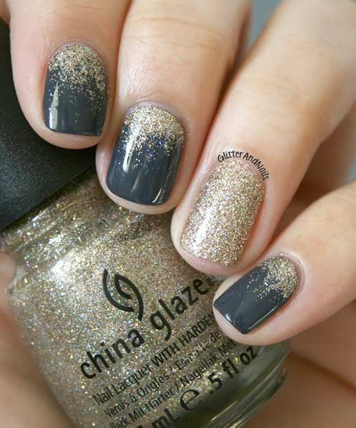 Gold Glitter Ombre New Years Eve Nails
