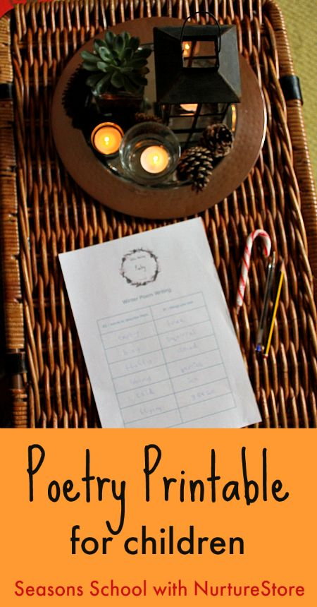 Easy poetry prompts for children, winter poems for children, kids poetry activity