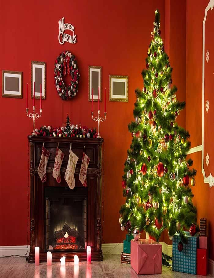 Beautiful Christmas Living Room With Decorated Christmas Tree Backdrop J 0143 Christmas Tree And Fireplace Christmas Living Rooms Christmas Tree Christmas tree living room background