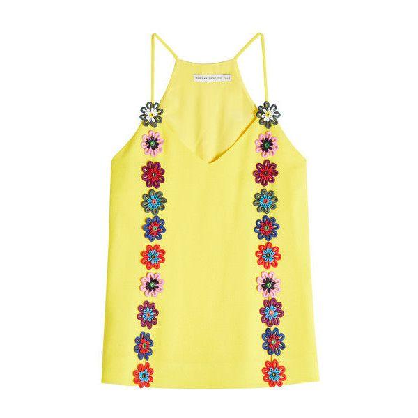 Mary Katrantzou Wool Cami ($810) ❤ liked on Polyvore featuring wool camisole, yellow cami, yellow camisole and mary katrantzou