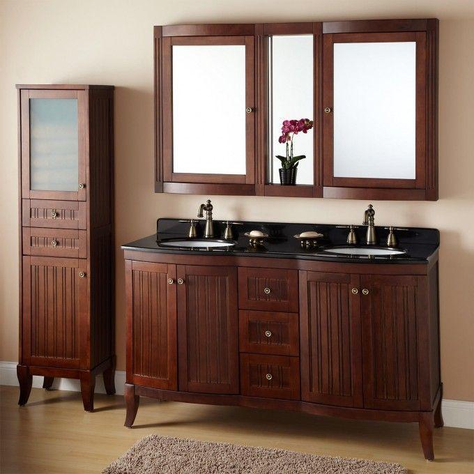 """60"""" Palmetto Brown Cherry Double Vanity - Double Sink Vanities - Bathroom Vanities - Bathroom"""