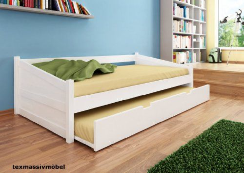 tagesbett funktionsbett maxi kernbuche massiv weiss lackiert 90x200 cm inkl lattenrost. Black Bedroom Furniture Sets. Home Design Ideas