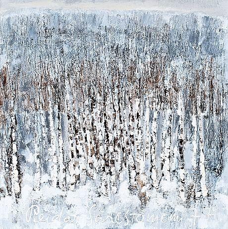 Reidar Särestöniemi, 1977: Huurre. Oil on canvas. 130x130 cm.