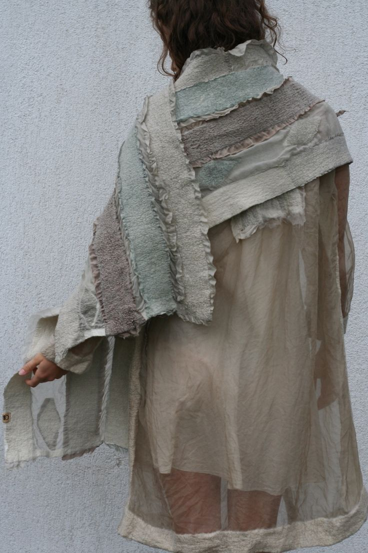 WOOCOON by Baiba Redere, Summer coat and scarf, silk, merino wool, nuno felting, dyed with plants