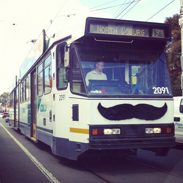 A tram with a mo!