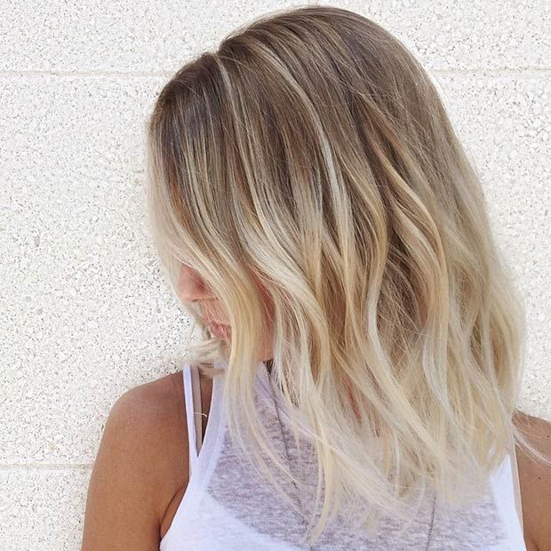 The palest of baby blondes. The mix of balayage, highlights, and babylights is gorgeous. Possibly too light for what I'm looking for now, but definitely worth saving.