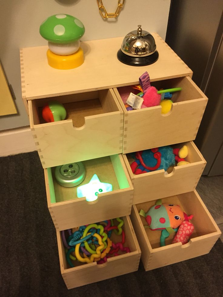 Ikea draws filled with toys and sensory toys to keep a toddler busy, great ikea hack