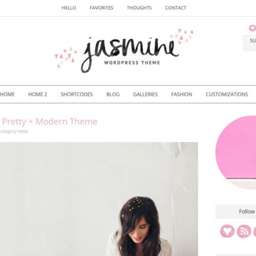 Meet the Jasmine, a Feminine Wordpress Template For Women Who Want a Modern Blog Design With A Feminine Look and Feel!