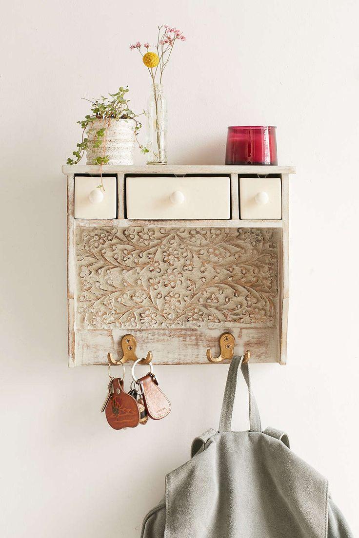 Painted Woodblock Wall Shelf