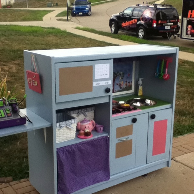 Entertainment Center Kitchen Set: Repurposed Entertainment Center Turned Children's Play