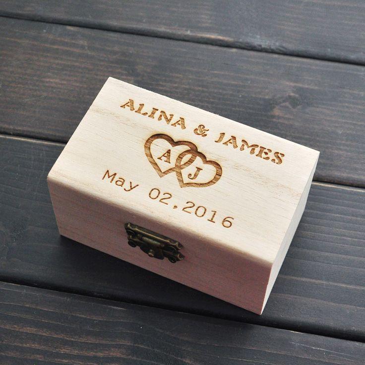 Rústica Caja de Anillo de Boda Portador, personalizado Caja Del Anillo de Bodas, caja del anillo soporte de madera, Decoración de la boda…