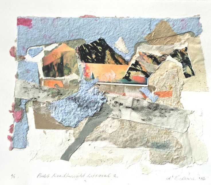 ELAINE d'ESTERRE - Point Roadknight Littoral, 2016, collage, 30x40 cm. Also at http://elainedesterreart.com/ and http://www.facebook.com/elainedesterreart/ and http://instagram.com/desterreart/