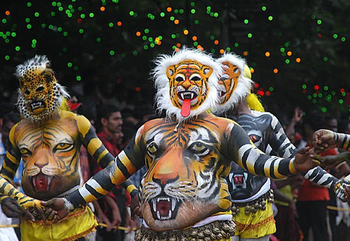 Tourist Attraction India: Onam Festival Images Kerala | face of lion on festival