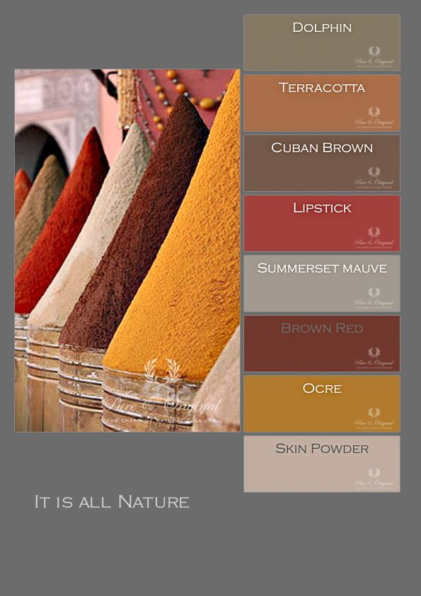 Colors of #pureandoriginal for the #chalckpaint and #limepaint. Inspired by spices from Morocco