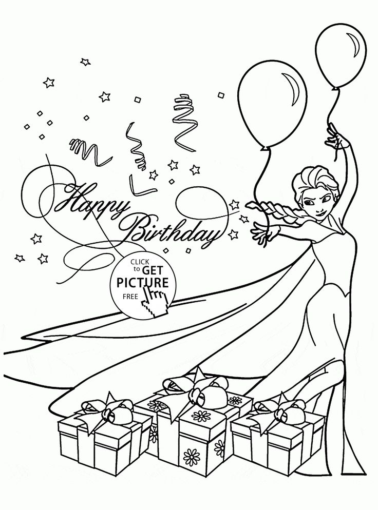 Happy Birthday Card with Elsa coloring page for kids