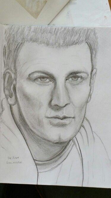 Joe Hart goalkeeper. Pencil