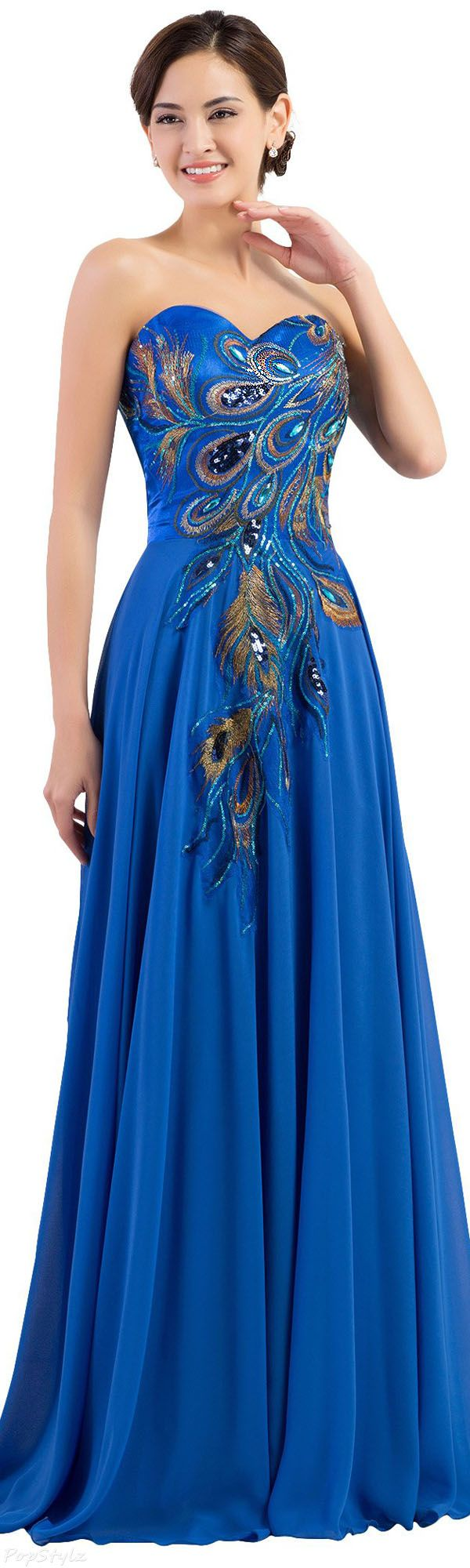 Grace Karin Strapless Embroidered Evening Gown