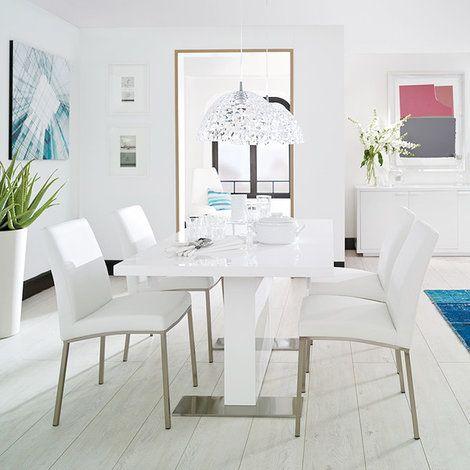 M s de 25 ideas incre bles sobre sillas de comedor blancas for Sillas azules comedor
