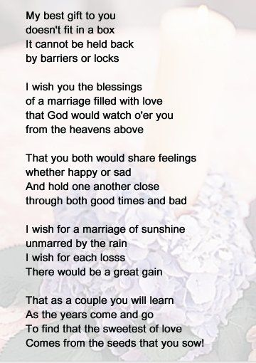 Wedding Shower Poems For Gift Cards : poems have been passed down from generation to ... Wedding ...