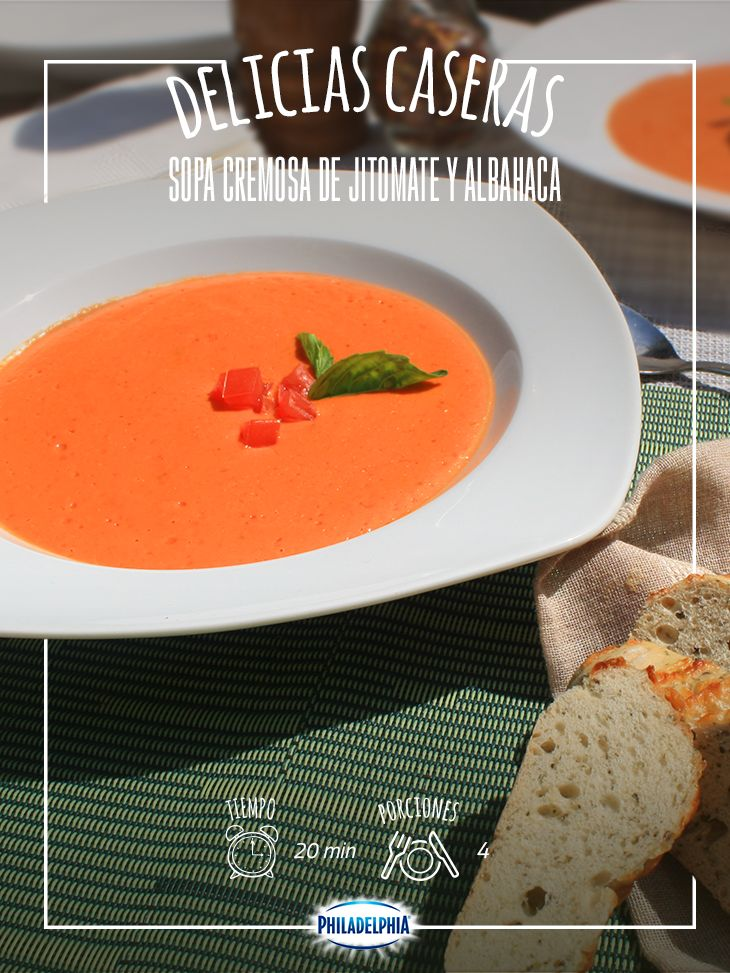 Comparte una Sopa cremosita de tomate.  #recetas #quesophiladelphia #pan #sopa #albahaca #jitomate