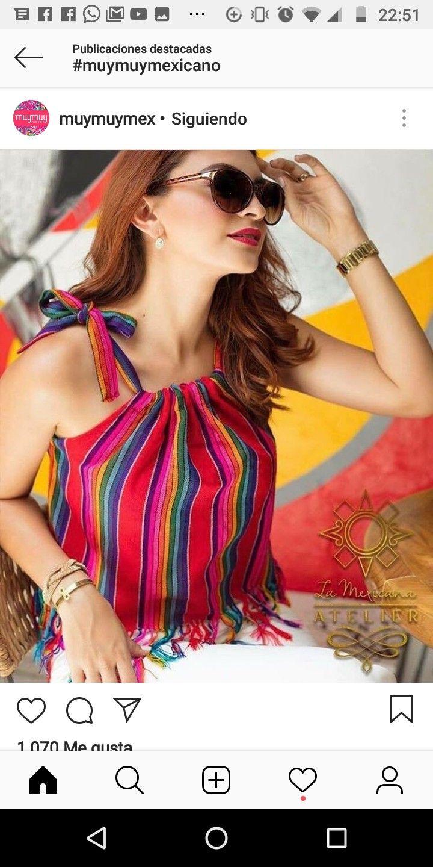 375695b42 Blusa México   Modelos tops en 2019   Ropa mexicana, Vestidos ...