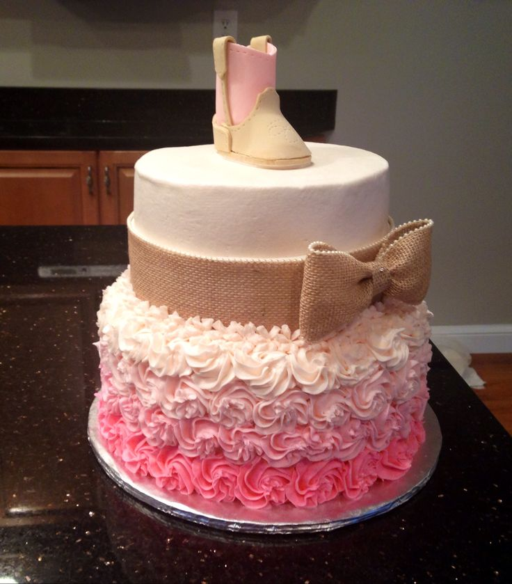 Rustic baby shower cake Cute! ( I wouldn't want the cowgirl boot on top though :) and not pink!