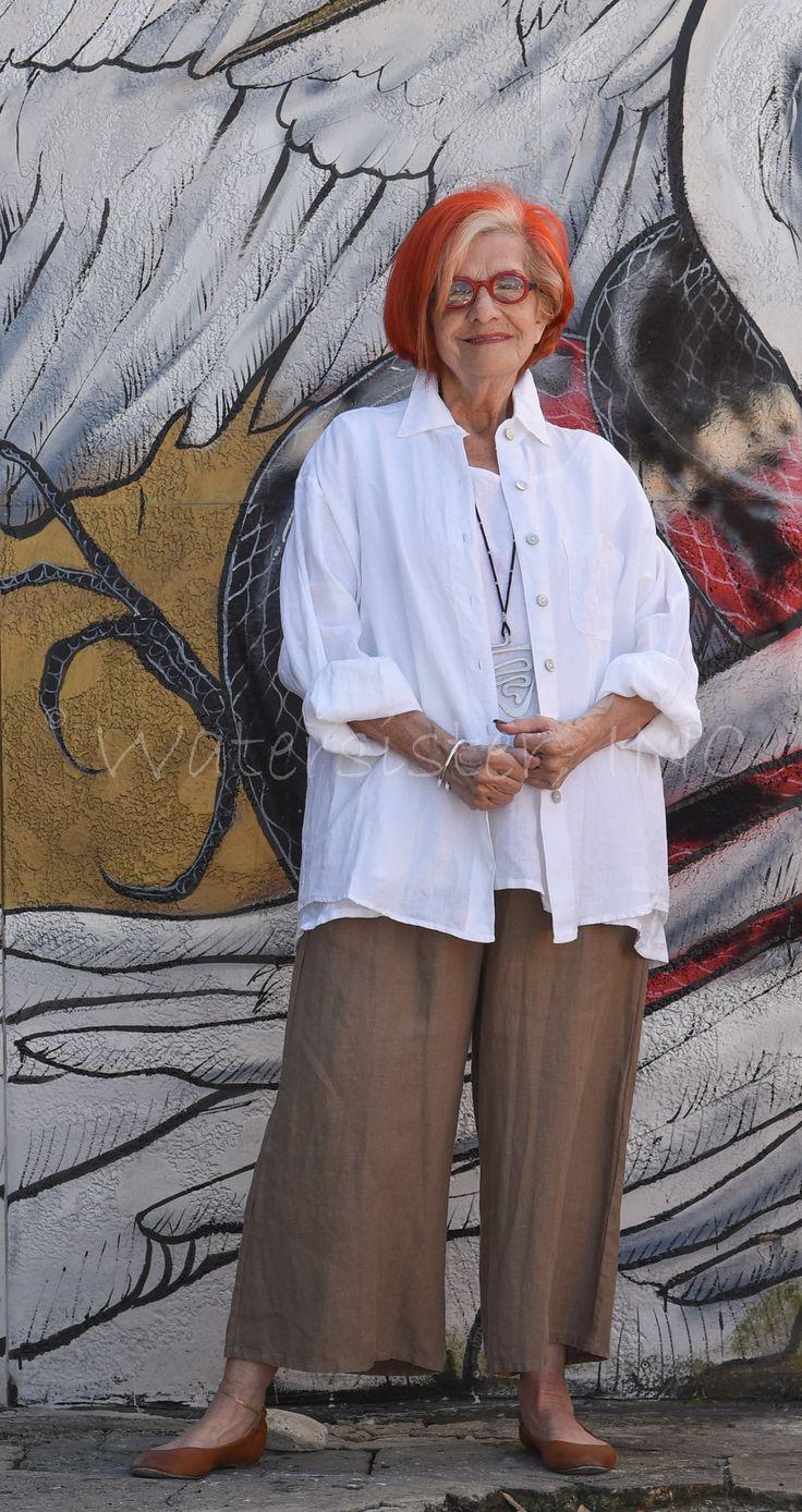 BRYN WALKER Light Linen BOYFRIEND SHIRT Big Pocket Blouse X S M L XL SPRING 2016
