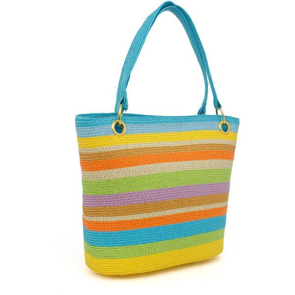 Magid Blue & Green Stripe Straw Tote ($28) ❤ liked on Polyvore featuring bags, handbags, tote bags, white tote, straw tote bags, white handbags, white tote bag and blue tote bag