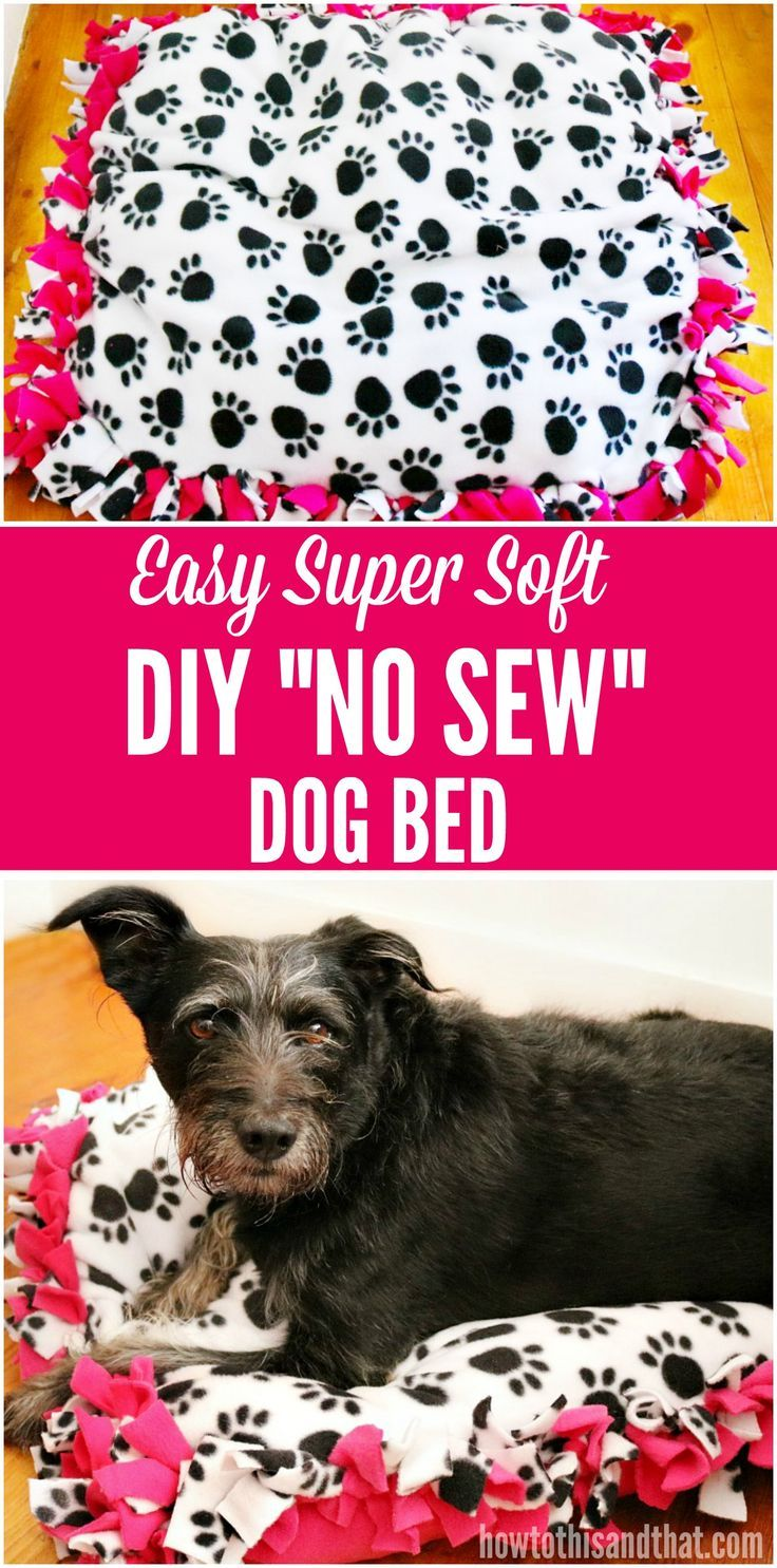 This DIY No Sew Dog Bed is so easy and soft, keeping your dog comfy all night long! The best part- you can make them any size you need!  #ad #NewBeneful