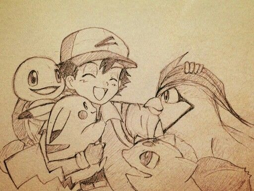 Ash Ketchum with his Pikachu, his Bulbasaur, his Squirtle and his Pidgeotto ^.^ ♡ I give good credit to whoever made this