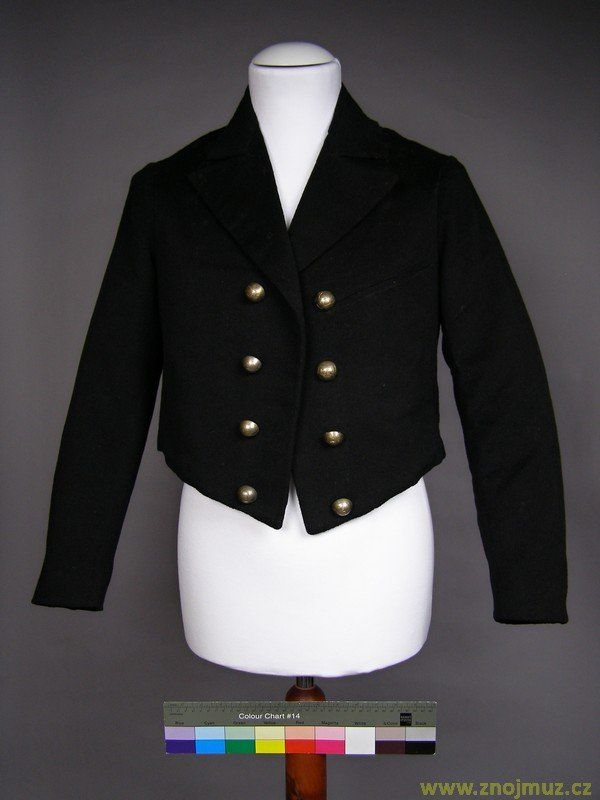 abát, Mužský černý krátký kabát s kovovými knoflíky, součást starošaldorfského kroje. Znojemské muzeum.