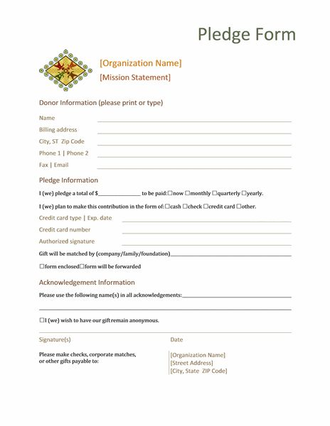 donation pledge form  this form normally contains basic information about the donor  name