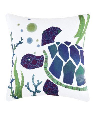 Purple & Blue Turtle Throw Pillow