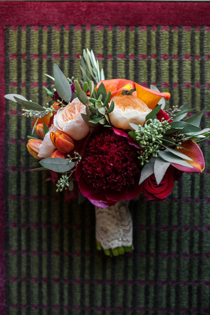 Fall Wedding North Carolina Dahlias Mango Callas Lush Bouquet Eucalyptus