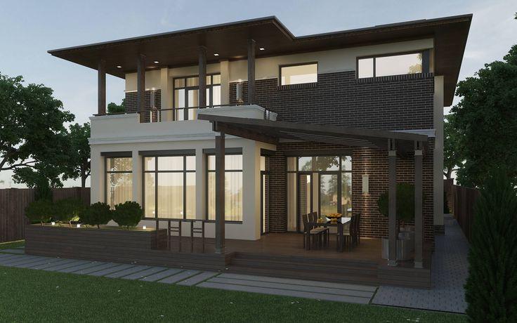 Задний фасад дома с террасой : Дома в эклектичном стиле от studio forma