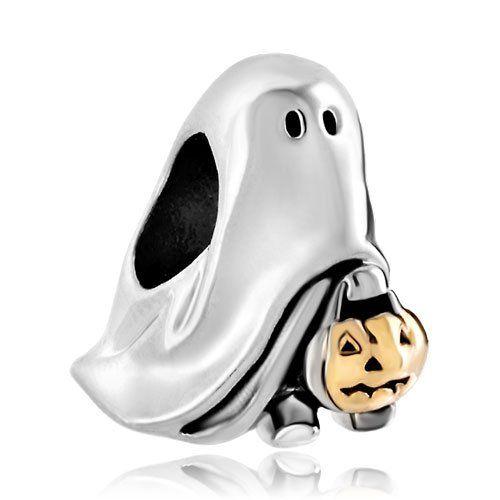 Pugster Sale Cheap Jack-o-lantern Weird Halloween Ghost Pumpkin Charm Beads Fit Pandora Bracelet Gifts
