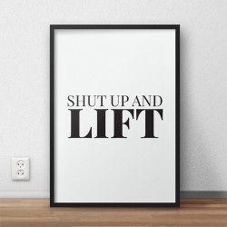 """Plakat motywacyjny do treningów z napisem """"Shut up and squat"""" do powieszenia na ścianie siłowni"""