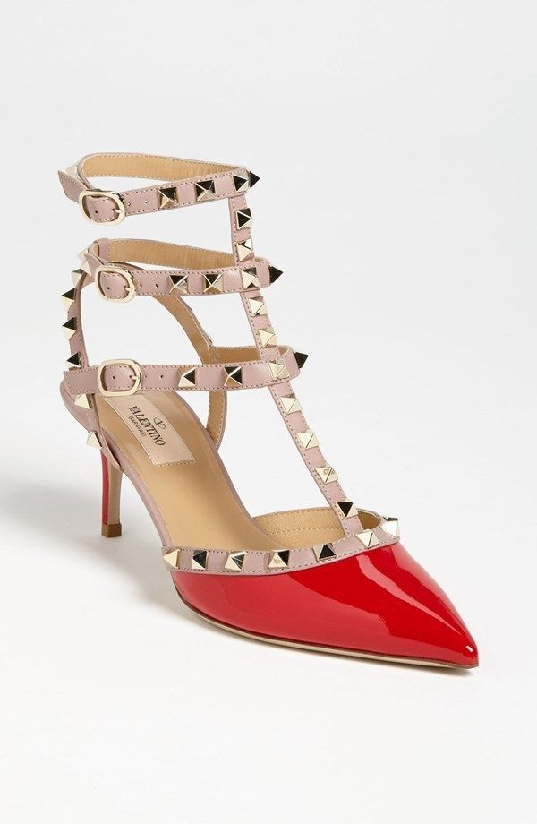 Valentino Heels (Pre-owned Red Patent Leather Rockstud T-Strap Pumps Studded Designer High Heel Shoes)