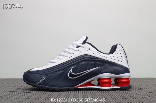 finest selection a020a ee046 Nike Shox R4 Navy Blue Red White Men's Trainers Running Shoes ...