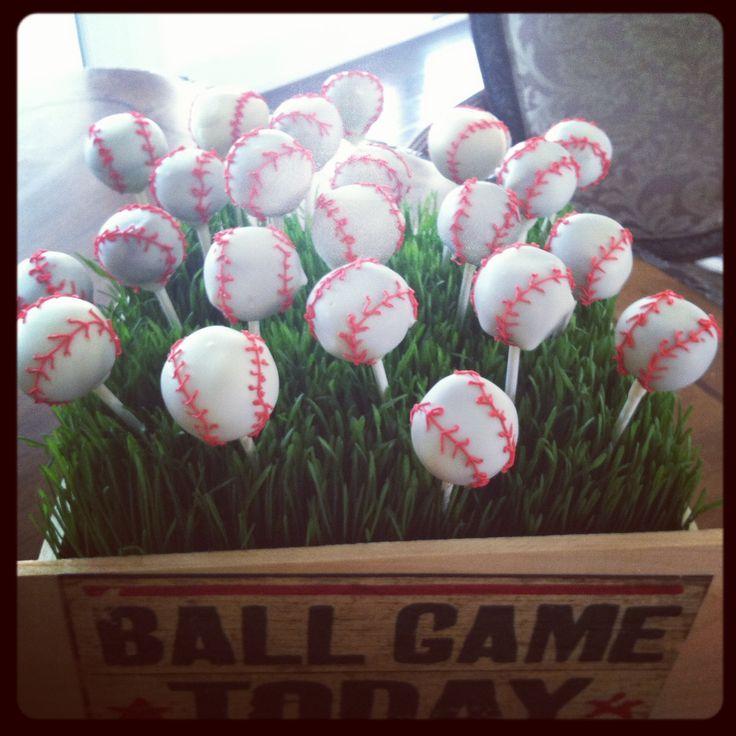 Baseball cake pops made by www.wbcustomcakes.com
