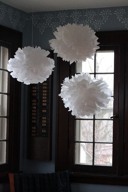 Diy idea: tissue snowballs hanging in dining room by mybricole, via Flickr