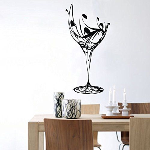 Black Abstract Elegant Wine Glass Wall Sticker Kitchen Wall Decal kitchen wall decor ideas