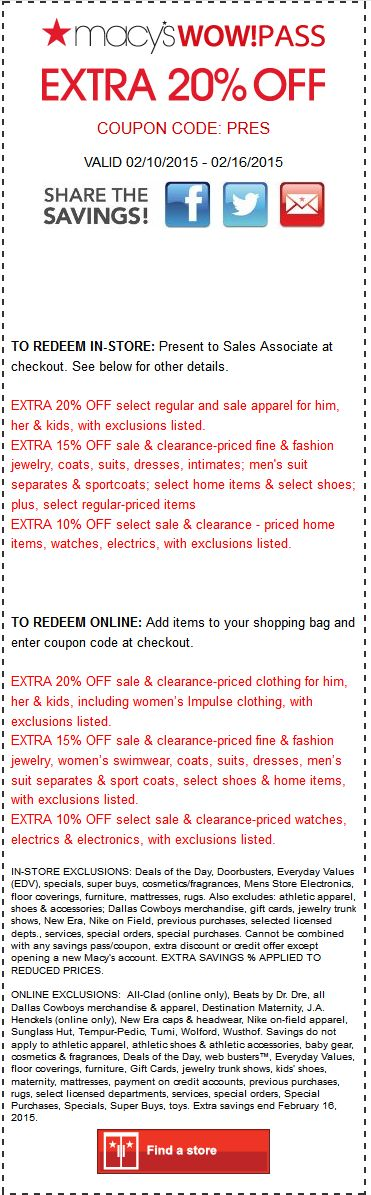 14 best deals images on pinterest printable coupons coupon and macys coupon macys promo code from the coupons app extra off at macys or online via promo code pres december fandeluxe Choice Image