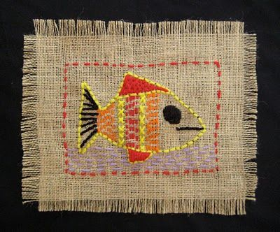 "TeachKidsArt: Burlap ""Sampler"" - Stitching Project--------I remember stitching a fish onto burlap when I was a kid. Now I'm hooked on yarn....."